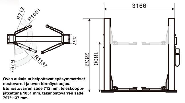 SteyrTek PL-40-2E kaksipilarinosturi mittapiirros